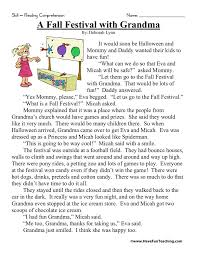 reading comprehension worksheet a fall festival with grandma