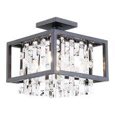 crystal semi flush mount lighting shop dvi eclipse 12 in w graphite crystal semi flush mount light at