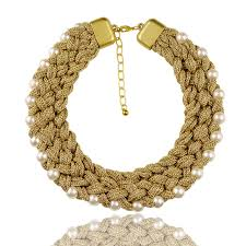 gold costume necklace images New arrival women costume necklace 18 inch gold thread woven thick jpg