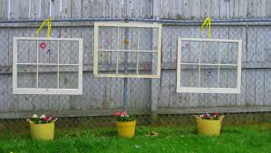 Backyard Fence Decorating Ideas Outdoor Fence Decoration With Upcycled Glass Window With White