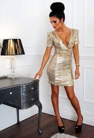 gold sequin plunge wrap mini dress pink boutique