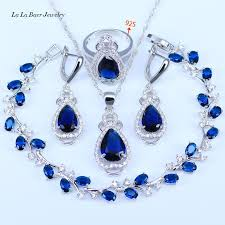 blue zircon jewelry necklace images L b best wedding present purple crystal white zircon jewelry sets jpg