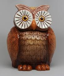 amazon com 8 inch big eyed owl shaped ceramic cookie jar statue
