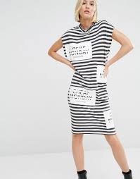 cheap monday shorts black cheap monday stripe logo t shirt dress