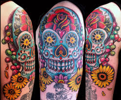 arm catrina day of the dead flowers skull tattoo slave to the needle