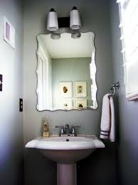 simple small guest bathroom ideas with antique square wall mirror