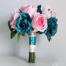 silk flower bouquets blue wedding bouquets pink silk flower wedding event decoration