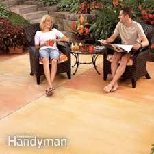 How To Install A Concrete Patio Renew Your Concrete Patio How To Stain Concrete Family Handyman