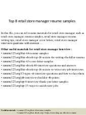 Retail Department Manager Resume Retail Manager Sample Resume