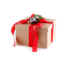 gift box bows brown paper gift box with ribbon bow isolated on white stock