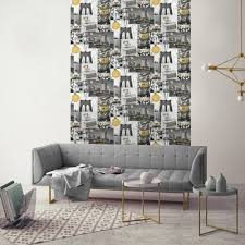 Grey Wallpaper Living Room Uk Muriva Big City Wallpaper New York Photo Pattern Glitter Motif L31002