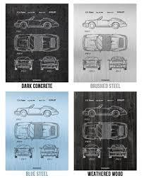 porsche poster vintage porsche 911 964 carrera coupe car poster patent print wall art gift