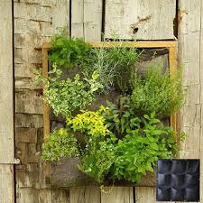 9 pockets wall mounted felt planter bags indoor outdoor plant grow
