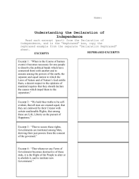 Declaration Of Independence Worksheet Answers Declaration Of Independence Worksheet Answers
