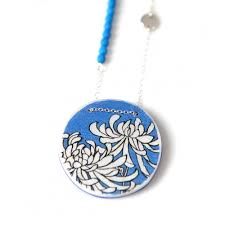 Www Handmade Au - chrysanthemum illustrated japanese style necklace unique