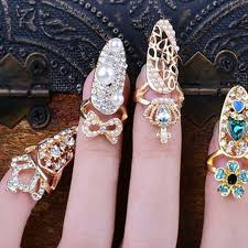 golden rings ebay images Hot fashion crown bowknot crystal finger nail art rings women jpg
