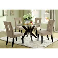 overstock dining room tables furniture of america novae round tempered glass top dining table