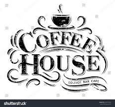 retro vintage coffee house logo lettering stock vector 620474822