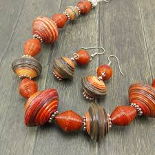 etsy handmade bead necklace images Sneak peek a new rwandan paper bead necklace and earring set for jpg