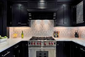 kitchen cabinets and backsplash ornate patterned backsplash ideas with classic black kitchen