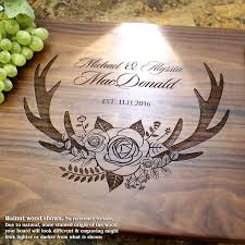 wedding gift cutting board corporate gifts ideas deer antlers and flowers personalized