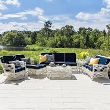 Swivel Wicker Patio Furniture by Everglades 7 Piece White Resin Wicker Patio Deep Seating Set With