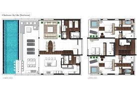 luxury house plans with pools four bedroom penthouse sky villa floor plan planos de casas con
