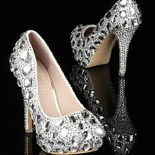 wedding shoes jeweled heels luxury silver sheer crystals jeweled high heels bridal shoes