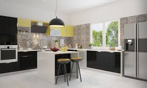 Modular Kitchen Designs White And Yellow Also Black Colours Scheme L Shaped Design Modular