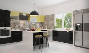 Modular Kitchen Interiors White And Yellow Also Black Colours Scheme L Shaped Design Modular