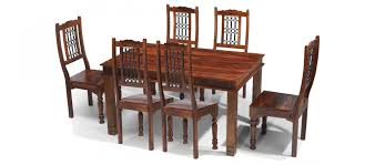 jali sheesham 180 cm chunky dining table and 6 chairs quercus living
