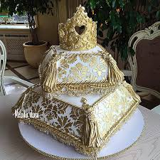 wedding cake gold gold crown and cushion wedding cake bouquet wedding flower