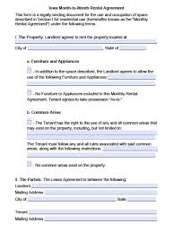 Free Lease Agreement Free Iowa Month To Month Rental Agreement Pdf Word Doc