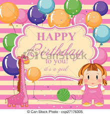 vector clipart of birthday card for boy happy birthday little