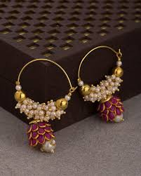 pachi earrings buy pink pachi hoop earrings studded with pearl online
