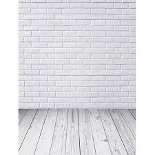 white photography backdrop custom vinyl cloth white brick wall wood floor photography