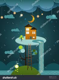 home fantasy design inc fantasy orange color home above tree stock vector 266781683