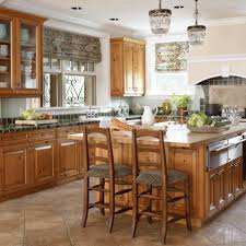 Kitchen Floor Tile Ideas With Oak Cabinets Elegant Kitchens With Warm Wood Cabinets Traditional Home