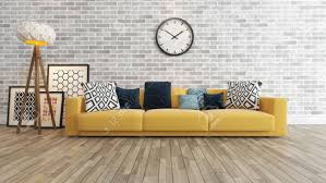 living room or saloon interior design with big wall yellow seat