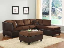 sectional sofa couch reversible chaise micro suede chocolate