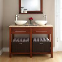 Bathroom Sinks And Vanities For Small Spaces - furniture wooden floating vanity cabinet with white rectangle