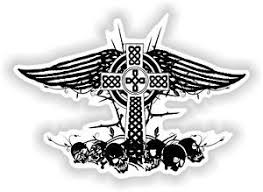 celtic cross wings skull vinyl sticker bumper decal religious car