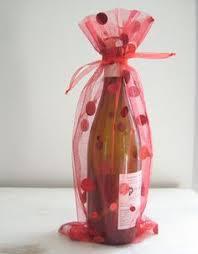 mesh gift bags candy wine bottle bag ribbon ties christmas gift