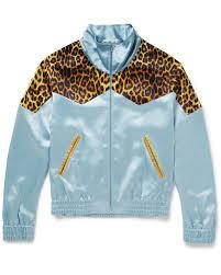 Blue Leopard Print Saint Laurent Blue Leopard Print Panelled Satin Bomber Jacket