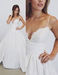 spaghetti dress buy a line spaghetti straps satin wedding dress with lace top