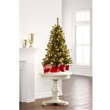 4 ft pre lit hillside pine artificial christmas tree clear