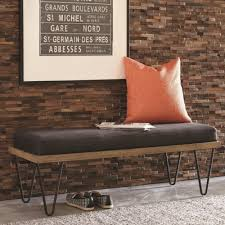 scott living 500574 mid century modern upholstered bench with