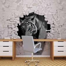 wall mural photo wallpaper xxl brick wall hole tiger 10400ws ebay wall mural photo wallpaper xxl brick wall hole