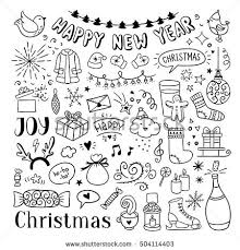 hand drawn christmas new year doodles stock vector 504114403