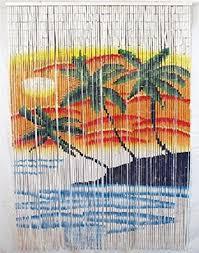 Amazon Beaded Curtains Amazon Com Bamboo Bead Tropical Triple Palm Tree Door Patio Porch
